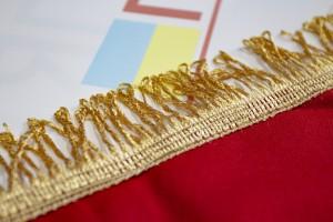 Прапор УПА з габардину з тризубом і бахромою - 70*105 см