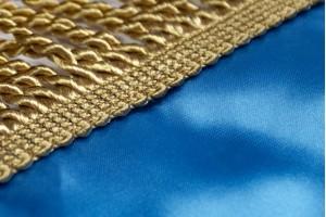 Прапор України з атласу з тризубом і бахромою - 90*135 см