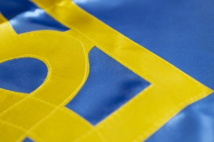 Прапор України з атласу з тризубом - 90*135 см