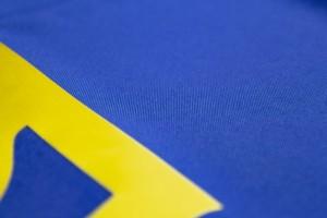 Прапор України з габардину з тризубом і бахромою - 90*135 см