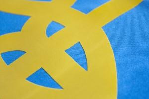 Флаг Украины с габардина с трезубцем - 90*135 см