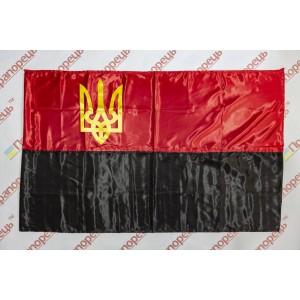 Флаг УПА с атласа с трезубцем - 90*135 см