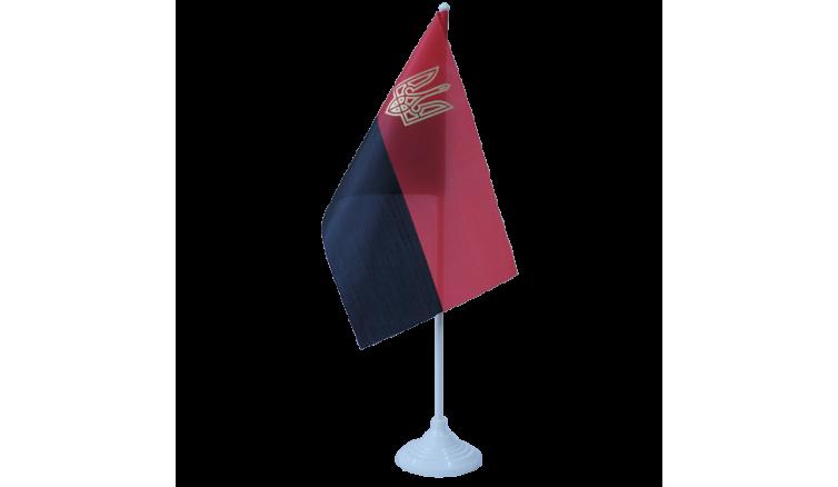 Прапорець УПА з атласу та тризубом 14см * 24см